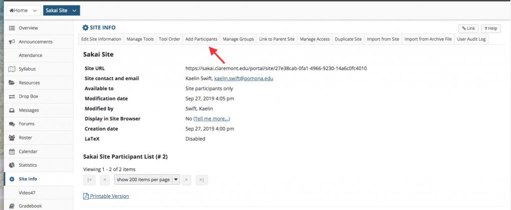 Site Info menu, select the Add Participants tab