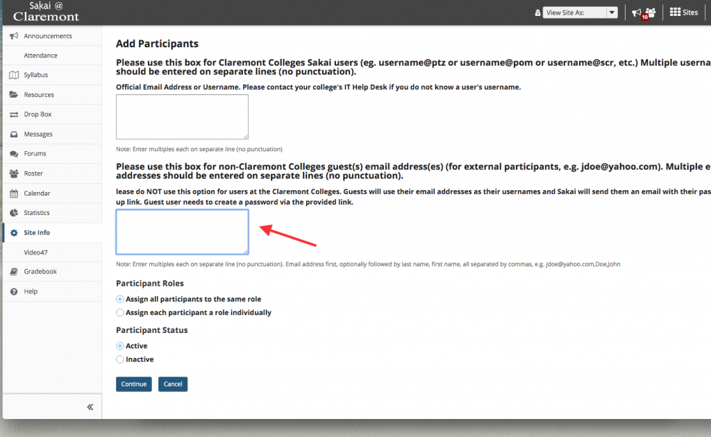 Use the second box on the Add Participants page to add your auditors